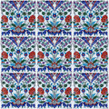 Ornamental background of Turkish ceramic tile collage. Royalty Free Stock Photo