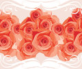 Ornamental border with blooming roses Royalty Free Stock Photos