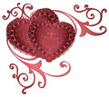 Ornamental borders with hearts. Romantic red hearts with floral ornaments golden lace borders and frames. Beautiful royal hearts