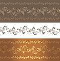 Ornamental brown borders three illustration Royalty Free Stock Photography