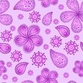 Ornamental colored seamless floral pattern with flowers doodles and cucumbers Royalty Free Stock Photos