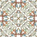 Ornamental colorful Baroque vector seamless pattern on white background. Vintage flowers, leaves, scrolls. Repeat damask backdrop