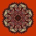 Ornamental colorful vector mandala on red. Art