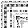 Ornamental corner border made multiple black decorative frames Stock Images