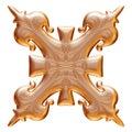 Ornamental de oro con la etiqueta del metal en fondo blanco aislado Foto de archivo