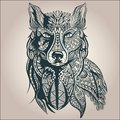 Ornamental decorative wolf, predator, pattern Royalty Free Stock Photo