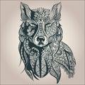 Ornamental decorative wolf, predator, pattern