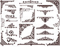 Ornamental design borders and corners vintage frames with delicate swirls in art nouveau for decoration works with floral motifs Royalty Free Stock Images