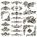 Ornamental design lace borders and corners Vector set art deco floral ornaments elements Royalty Free Stock Photo