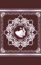 Ornamental element with heart and orchid. Greeting card