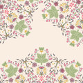 Ornamental floral card bright background with many flower leaves and berries details Royalty Free Stock Image
