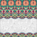 Ornamental floral folkloric background for invitation cover design fabric pattern or page decoration ethnic border on vintage Stock Images