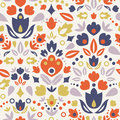 Ornamental folk tulips seamless pattern background vector with tulip silhouettes Royalty Free Stock Photo