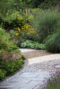 Ornamental garden path with perennial plants grass and other and bush home made way Royalty Free Stock Photos