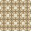 Ornamental geometric seamless pattern. Vector background texture. Retro style tile. Olive colors. Royalty Free Stock Photo