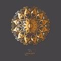 Ornamental gold flower oriental mandala on grey color background Royalty Free Stock Photo