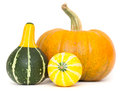 Ornamental gourds and pumpkin isolated on white background Stock Photos