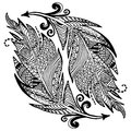 Ornamental hand drawn sketch of feathers in zentangle style. vector illustration with ornament, isolated