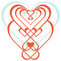 Ornamental heart symmetrical hearts red and blue ornament Stock Photos