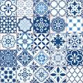 Lisbon geometric Azulejo tile vector pattern, Portuguese or Spanish retro old tiles mosaic, Mediterranean seamless navy blue desig Royalty Free Stock Photo