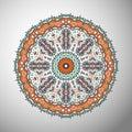 Ornamental olorful geometric mandala in aztec style. Oriental pattern, vector illustration Royalty Free Stock Photo