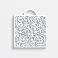 Ornamental paper bag decorative shopping with shadow on white Stock Images