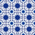 Ornamental pattern  seamless blue and white color. Tile pattern - azulejo, portuguese tiles, celtic, spanish, moroccan, tala Royalty Free Stock Photo