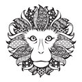 Ornamental patterned head of the monkey Royalty Free Stock Photo
