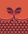 Ornamental red bow with hearts on the background illustration Stock Image
