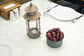 Ornamental of ripped dates vintage lantern and a ramadan lamp Stock Images