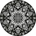 Ornamental round floral pattern black and white curves Royalty Free Stock Image