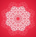 Ornamental round red lace pattern arabesque designs oriental ornament Royalty Free Stock Photo