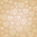 Ornamental seamless pattern with lacy hearts light beige background it can be used for wallpaper fills web page surface Stock Photos