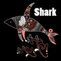 Ornamental shark beautiful on a black background Stock Images