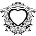 Ornamental shield heart shape decorated floral elements this illustration may be useful as designer work Stock Photography