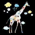 Ornamental silhouette of a giraffe decorative on black background with clouds Stock Photos