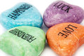 Ornamental stones coloured with words Royalty Free Stock Image