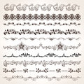 Ornamental vintage border set with engrave floral and calligraphic design elements Royalty Free Stock Photos