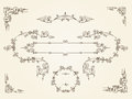 Ornamental vintage rectangular border frames on parchment background Royalty Free Stock Photo