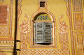 Ornamental wall and wooden window in Jaipur, India Royalty Free Stock Image