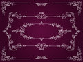Ornamental white rectangular border frames on dark magenta background Royalty Free Stock Images