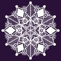 Ornamental winter hand drawn lace snowflake doodle background Royalty Free Stock Photos