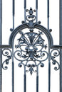Ornamental wrought iron section of decorative black isolated on a white background Royalty Free Stock Photography
