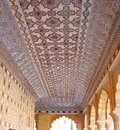 An Ornamented Ceiling in Mirror Palace, Amer Palace, Jaipur, Rajasthan, India Royalty Free Stock Photo