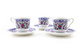 Ornamented teacups isolated on white Royalty Free Stock Photo