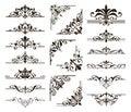 Ornaments elements floral retro corners frames borders stickers art deco design Royalty Free Stock Photo