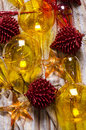 Ornaments old glass christmas on festive cloth Royalty Free Stock Photo