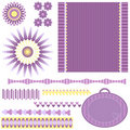 Ornaments, tag, trims and background Royalty Free Stock Photography