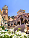 Ornate amalfi cathedral with flowers italy Stock Photo