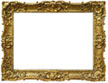 Ornate baroque gold frame vintage picture isolated on white background Royalty Free Stock Photo